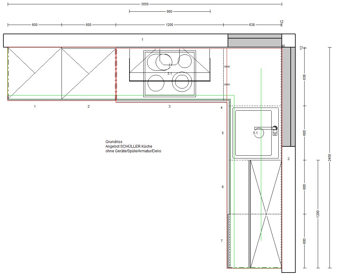 sch ller einbauk che front hochglanz wei neu k che ohne ger te grifflos design. Black Bedroom Furniture Sets. Home Design Ideas